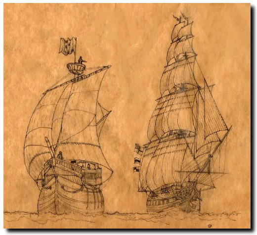 Carrack and frigate